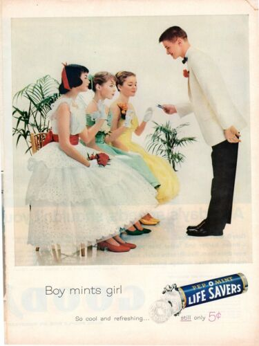 Vintage advertising print Candy LIFE SAVERS Boy mints Girl Pep-O-Mint dance 1961