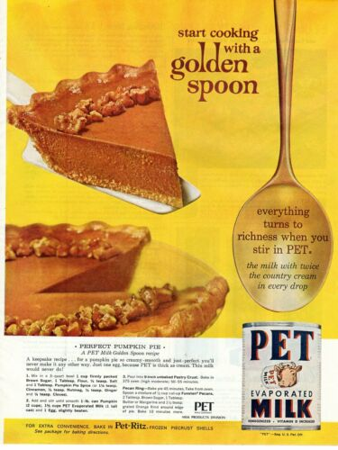 Vintage advertising print Dairy PET evaporated milk Perfect Pumpkin Pie Recipe