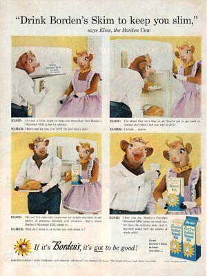 Vintage advertising print Dairy BORDEN's MILK Skimmed Elsie Elmer Cow jingle 58