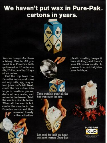 Vintage advertising print Dairy  Pure-Pak Milk Carton wax Create a Candle 1967