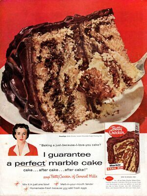 Vintage advertising print FOOD Betty Crocker's Marble Cake Mix perfect frosting