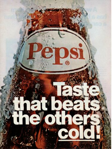 Vintage advertising print Soft Drink Soda PEPSI Taste that beats others cold 69