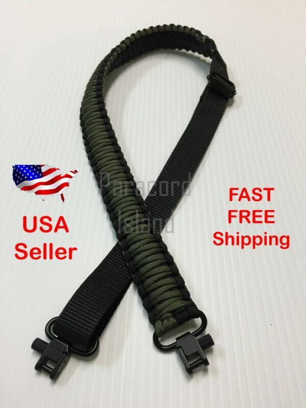 NEW OD Green & Black Adjustable 550LB Paracord Rifle Gun Sling Strap w/ Swivels
