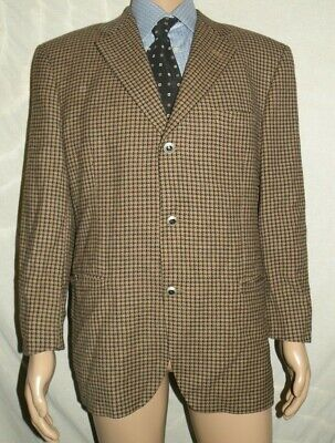 VTG VERSACE V2 100% Wool Houndstooth Black & Brown Blazer Sport Coat sz 40