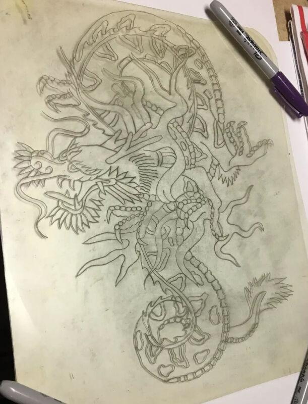 "*Reduced*1960's Lee Roy Minugh 12 X 10 ""Three Toe Dragon"" Acetate Tattoo Stencil"
