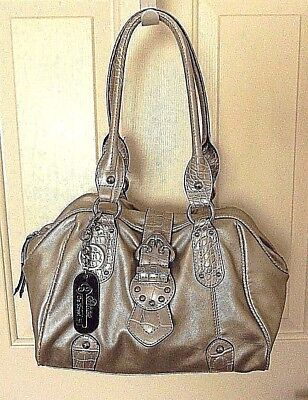 Clasp Satchel Handbag - GENNA DE ROSSI purse handbag tote satchel-Logo key chain clasp- Silver