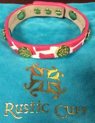 Rustic Cuff Single Wrap Meagen Hot Pink Giraffe Print with Gold RC logos