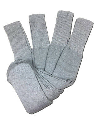 - 4 Pairs Mens Grey Tube Socks Big and Tall Extra Long Thick Cotton - 28 Inches