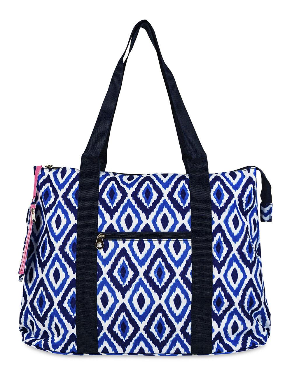 Jenzys Womens Ikat Large Shoulder Tote Bag for Travel Shoppi