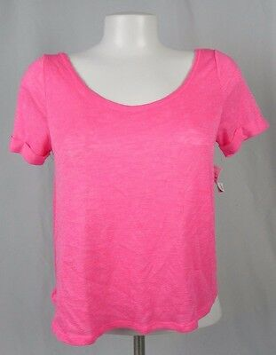 NEW Aeropostale Live Love Dream Pink Open Back Short Sleeve Knit Top (A1-25)
