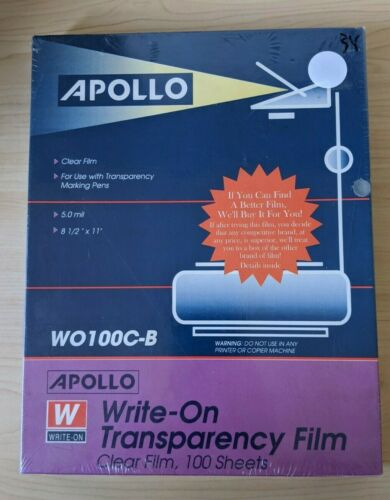 """Apollo Write-on Transparency Film - Letter - 8.50"""" X 11"""" - 100 Sheets - Clear"""