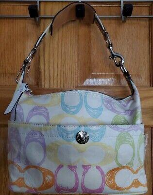 Authentic COACH Multi Color Signature Canvas  Shoulder Bag Purse