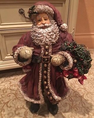 Christmas Decor for Winter Holidays - Cast Resin Santa Statue Almost 2 feet tall