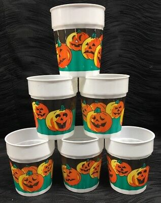 Plastic Halloween Tumblers (Vtg Plastic Halloween Cups Tumblers Stackable 80s Packer Plastics Jack O)
