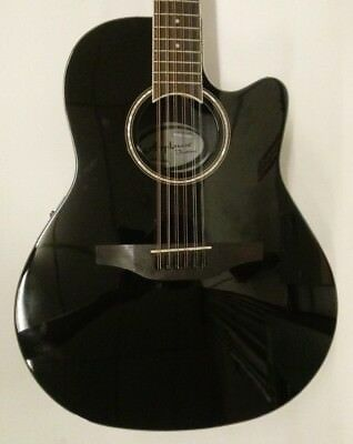 Ovation Applause Balladeer AB2412II-5 - Black 12-String Acoustic-Electric Guitar