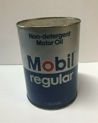 Vintage Mobil Oil Can Regular 1 Quart 20W Full Cardboard Advertising Mobiloil