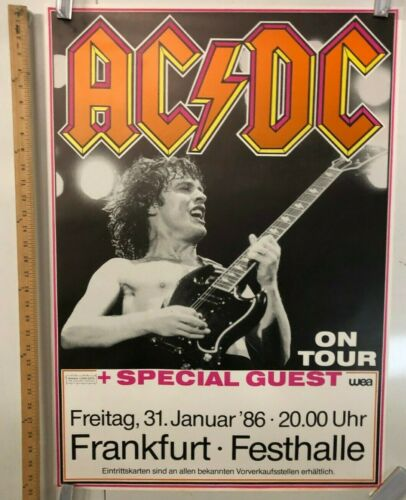 AC/DC On Tour 1986 Poster In Frankfurt At Festhalle German Classic Rock And Roll