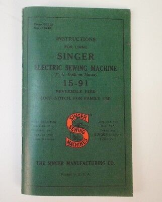 5 pk Singer 15-91 Console Desk Sewing Machine Owner's Manual Instruction Booklet