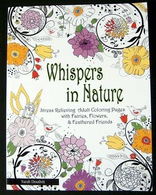 Adult Coloring Book Whispers in Nature 48 Pages Flora Owls Birds Fairies