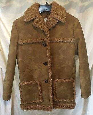 Vintage Fingerhut Fashions Faux Shearling Brown Western Coat Sz 8