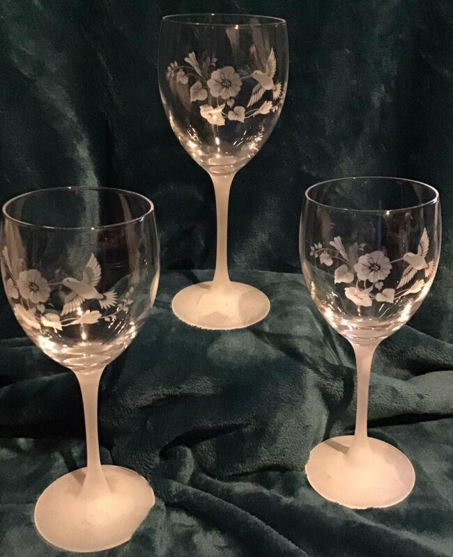 "Vintage 3 Etched Hummingbird Wine Glasses Crystal Frosted Stem Wedding 8.5"" H"