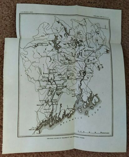 1901 Map of Maine Drainage Basins of Penobscot and Kennebec Rivers