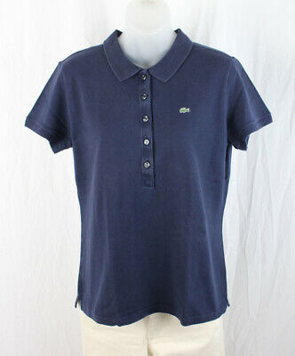 Lacoste Women's Navy Short Sleeve Polo Tee Shirt Top Size 46 14