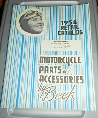 Beck motorcycle parts and accessories retail catalog 1958 Harley Davidson Indian