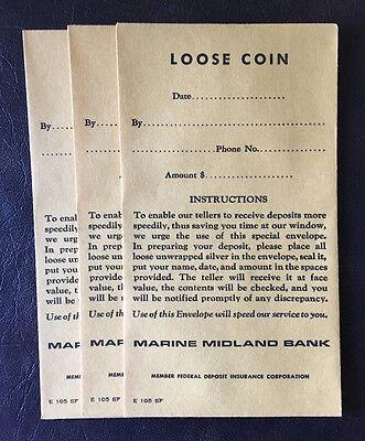 (3) Vintage Marine Midland Bank Loose Coin Envelopes Buffalo. NY (Unused)