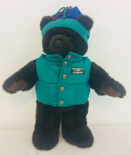 """LL Bean Brown 19"""" Teddy Bear With Teal Hat & Puffer Vest"""