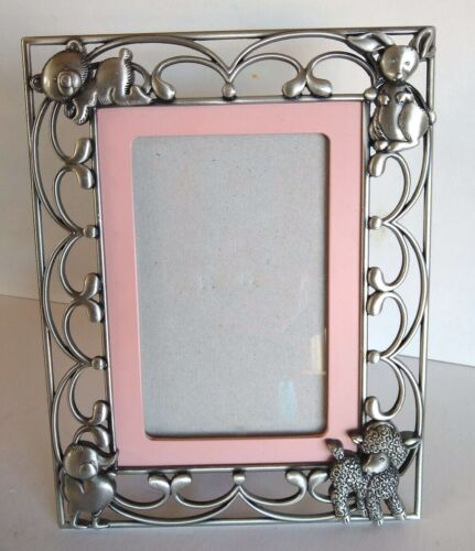 Baby Girl Photo Frame Pewter Colored Metal Pink Lamb Duck Bunny Bear Glass 4x6