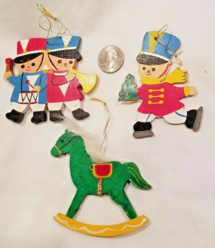 Vintage 2-Sided Flat Wooden X-mas Ornaments Lot of 3 Toys Rocking Horse/Soldiers