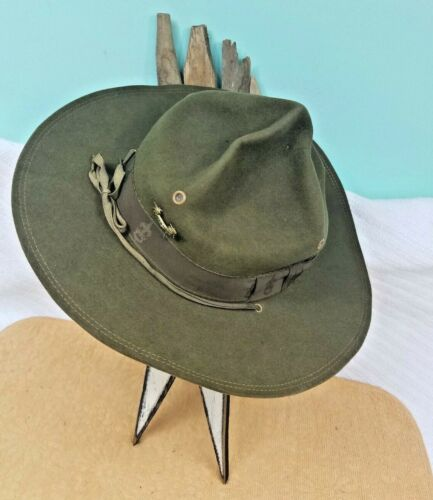*Vintage Boy Scouts Of America Felt Official Oval Campaign Hat 6 7/8-w/Pin