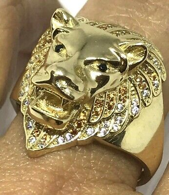 GOLD Mens lion head ring 14k Solid real Simulated diamond 6.3g 11 9 10 12 13