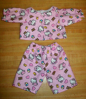 PINK FLANNEL HELLO KITTY PAJAMAS PJS BUTTONS FOR 15-17