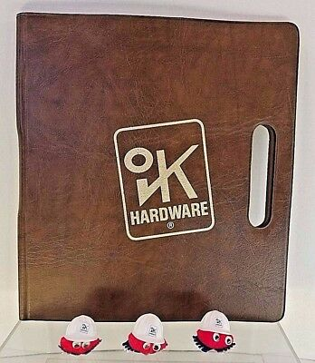 Vintage OK Hardware Advertising - Folder & 3 Pom Pom Googly Eye Stickers