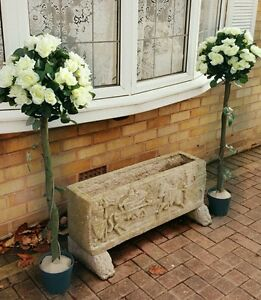 2 x Artificial Topiary ROSE Trees 4ft White  Wedding Engagement Party Decoration