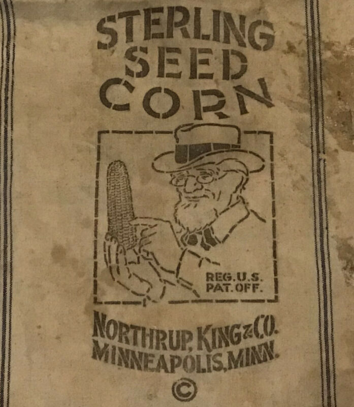 Antique Cloth Sterling Seed Corn Sack Bag Northrup King Minnesota 18 X 39""