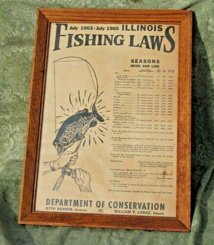 RARE ~ ILLINOIS 60S ERA FISHING LICENSE ~ REGULATION POSTER ~ ANGLER BASS CARP