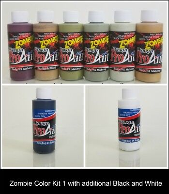 Zombie Airbrush Halloween FX Makeup Kit 8 Colors Haunt Horror Monsters Undead](Zombie Halloween Makeup Kits)