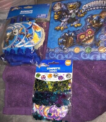 A Lot Of 3 Skylanders Birthday Partly Supplies Confetti - Napkins And - Skylanders Boy And