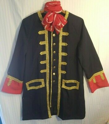 Frock Coat Adult Pirate Colonial Steampunk Prince Costume Black/Red/Gold Jacket