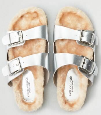 1 American Eagle Outfitters Aeo Furry SILVER DOUBLE BUCKLE Slides Shoes SIZE 9 for sale  Shipping to Nigeria