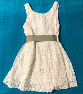 White Lace DRESS *Est Size 5 Asian Size 120 Sleeveless Lined Green Sash SUMMER!