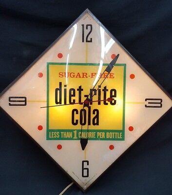 Vintage Pam Clock Co. Sugar Free Diet Rite Cola 1 Calorie Electric Wall Clock