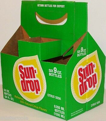 Vintage soda pop bottle carton SUN DROP rain drop logo new old stock n-mint