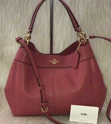 *BNWOT*  Coach *Edie 28* Pebbled Leather Shoulder Bag RRP $350, Dark Dusty Pink