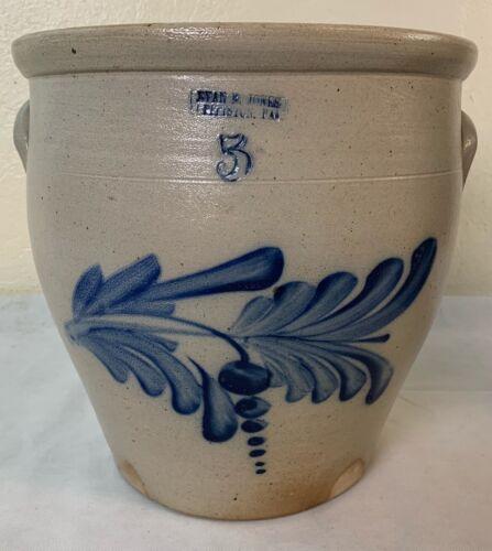 Antique 5 Gal. Stoneware Crock Cobalt Decorated Evan Jones Pittston, Pa.VF