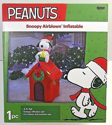 used peanuts snoopy airblown inflatable dog house christmas outdoor yard decor new for sale - Used Outdoor Christmas Decorations For Sale