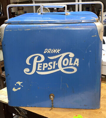 Antique 1950's Steel Blue Drink PEPSI Cola Cooler Ice Chest Refrigerator W Tray